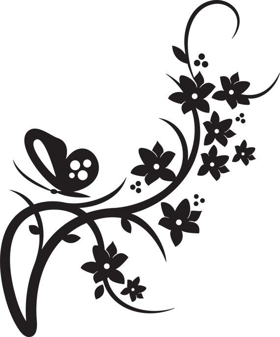 Butterfly wedding design with flowering vine by VinylSkyGraphics, $9.00