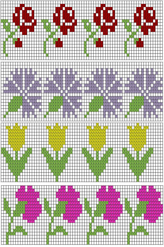 Missä neuloimme kerran: 19.12. (flower patterns)