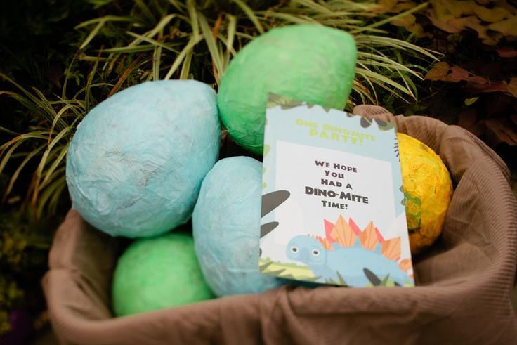 Dinosaur party paper mache dinosaur egg favors