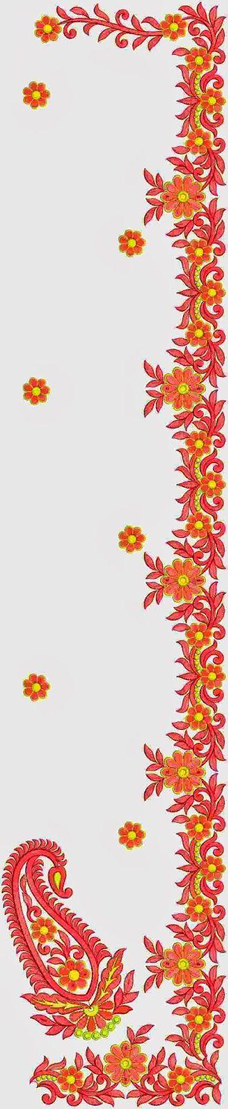 Colorful Thread Work C-Pallu Saree Designs - Embdesigntube