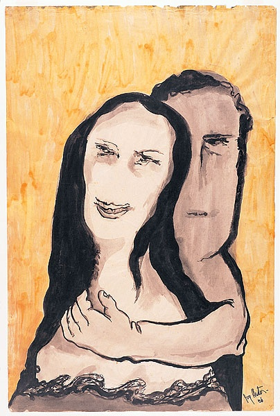 'Lovers III' 1956 Part of her 'Lovers' series developed late in her career but it is from one of her greatest series of works. The woman's expression makes me laugh.
