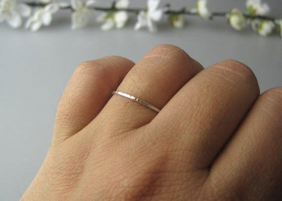 Dainty Silver Hammered Stacking Ring Hypoallergenic Stacking Ring Dainty Silver Jewelry Sterling Silver Ring Minimalist Silver Ring