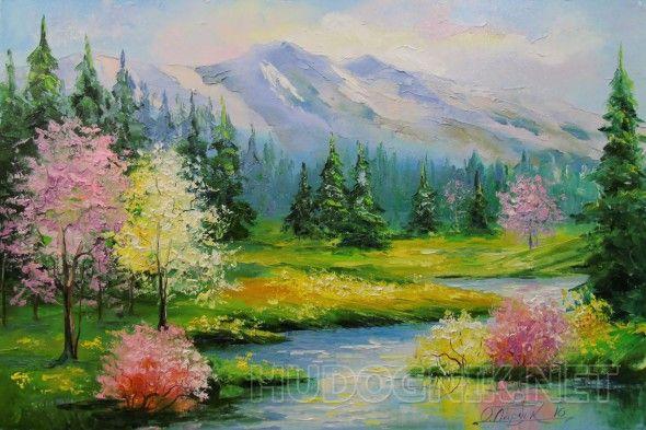 Весенний ручей Весенний ручей,картина маслом на холсте,постер,природа,пейзаж,картина маслом на подарок,картина маслом для интерьера,импрессионизм