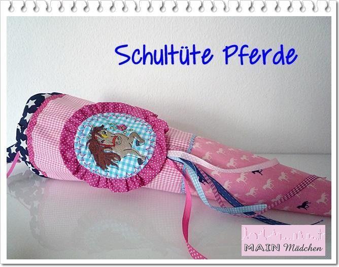 Schultüte+Pferde++mit+Stickerei+/Stoff+ohne+Kissen+von+Main+Mädchen+auf+DaWanda.com