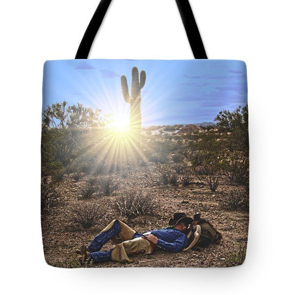 All Tote Bags - Cowboy Waitin on a Horse Tote Bag by Amanda Smith