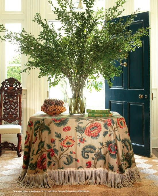 Tablecloth is 'Hither' by Aerin Lauder for Lee Jofa at GP & J Baker.