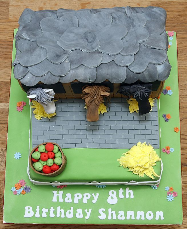 2 Tiered Horse Stables Cake with handmade fondant horses & apple barrel