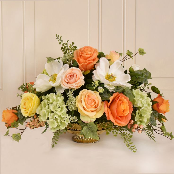 288 best silk flower arrangements images on pinterest magnolia and rose silk flower centerpiece ar420d a touch of sunshine to your home witht his beautiful silk floral cneterpriece mightylinksfo