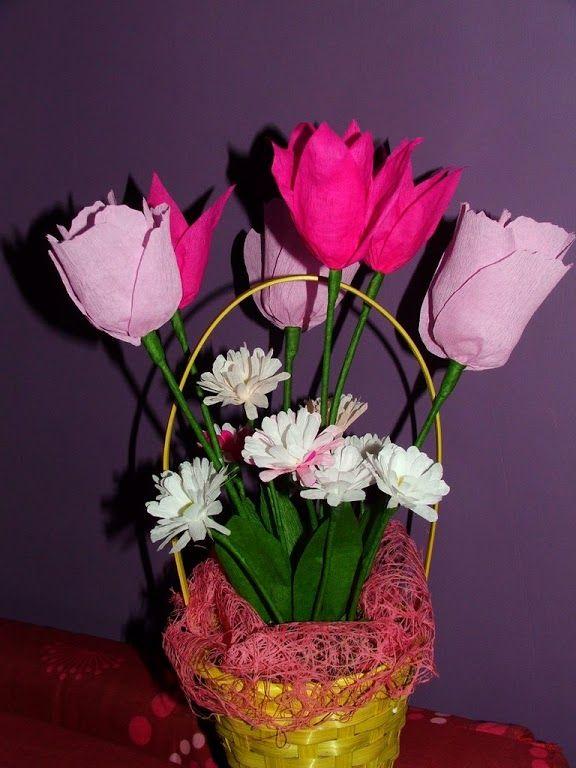 Kwiaty z bibuły. Bukiet z tulipanów i stokrotek