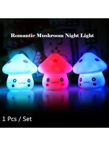 Magic LED Mushroom Night Light PVC Novelty Lamp Changing Color Toy