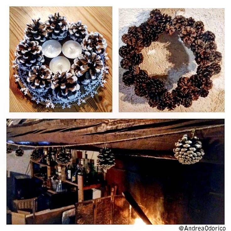 Decorazioni invernali con pigne. Winter home decorations with pinecones.  #Pineconeswreath #Wreath #Ghirlanda