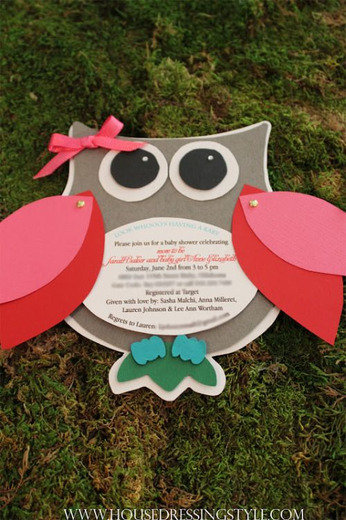 From: http://www.housedressingstyle.com/2012/08/owl-themed-baby-shower.html. Enrolment invite? Very cute!