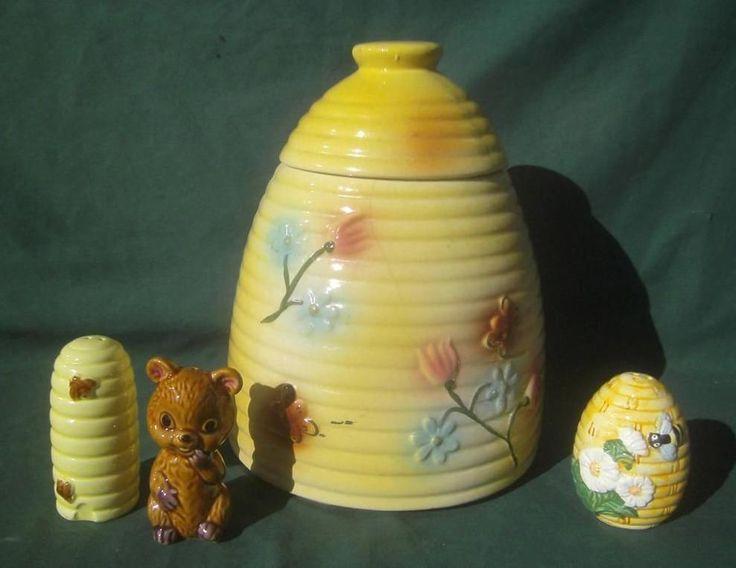Details about vintage american bisque usa beehive bees cookie jar bear shakers kitchen - Beehive cookie jar ...