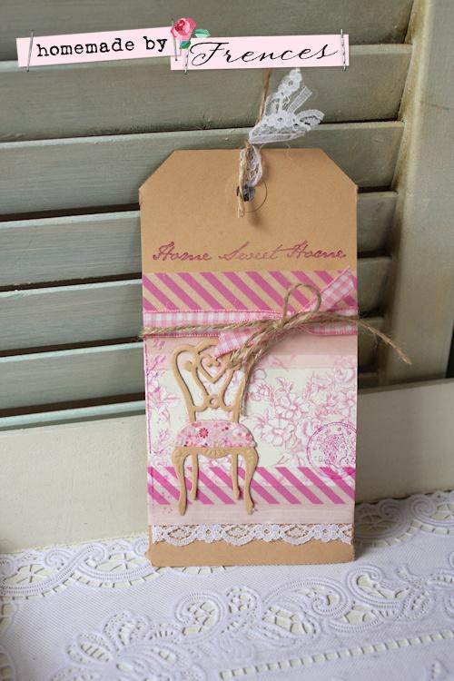 Label gemaakt met washi-tape, kant en stempels van Eline's Buitenhuis ♥ Homemade by Frences ♥