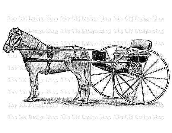 Horse And Buggy Vintage Clip Art Illustration Digital Stamp Transfer