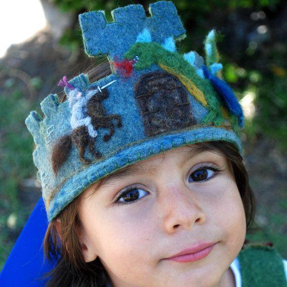 Wool Felt Crown, Waldorf Inspired, Birthday / Photo prop / Dress up -Knight & Dragon on Etsy, $50.00