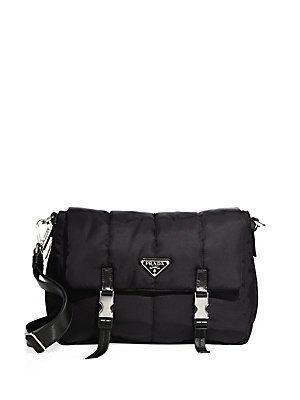 Prada Tessuto Nylon Bomber Messenger Bag - Black