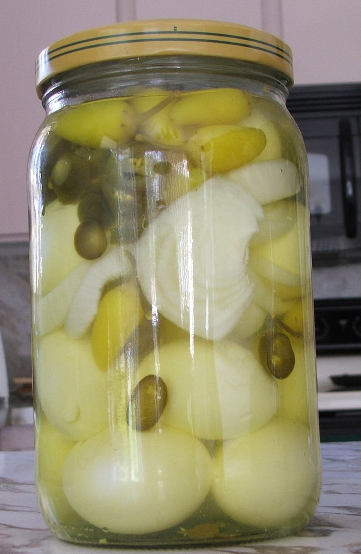 ****Pickled Egg**** - 36 to 48 of the best pickled eggs -Do NOT use any of the boiled eggs that have breaks in the white portions. -- bottle of Hot Yellow Peppers *** ( El Pato or Mezzata brands)- bottle of sliced jalapeno peppers-- yellow onions, Little Smokies --pearl onions -- green peppers (Bells and Whistles), whatever you like when it is pickled. Pour enough of the jalapeno juice into the bottle-- Now fill the jar up with straight white vinegar! No Frig Needed.