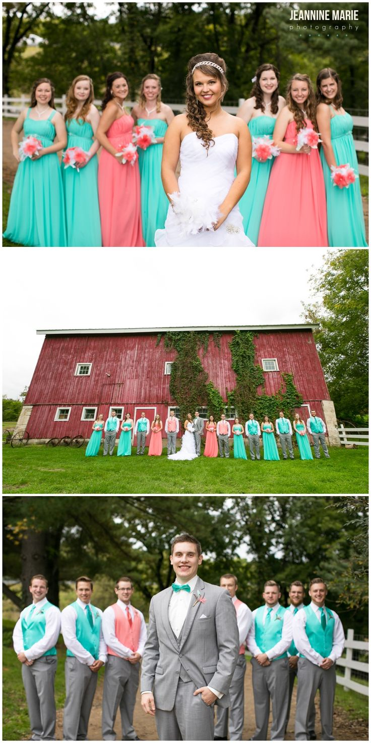 Saint Paul Wedding Photographer Jeannine Marie Photography Photographs Jake  And Camillau0027s Coral And Teal Wedding At Hope Glen Farm In Cottage Grove, MN.