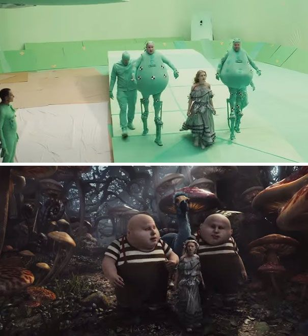 movies before and after visual effects... Alice In Wonderland