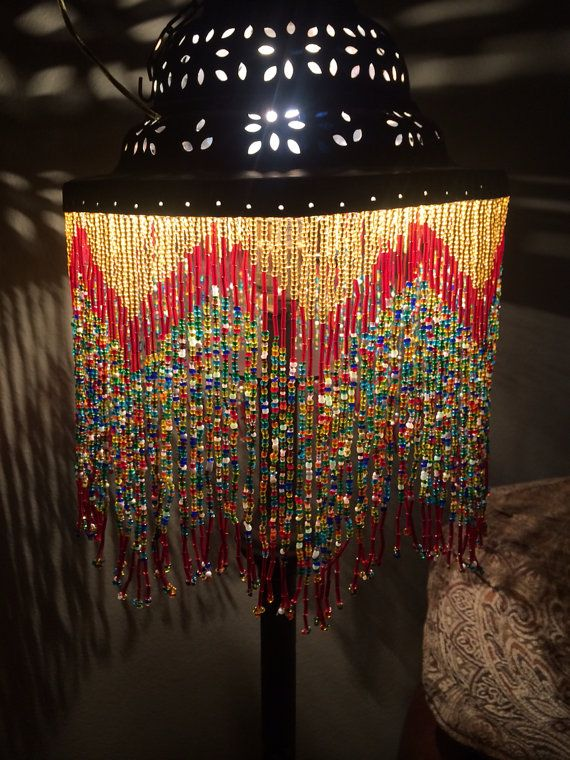 Antique Vintage Handmade Moroccan Style Beaded Light On