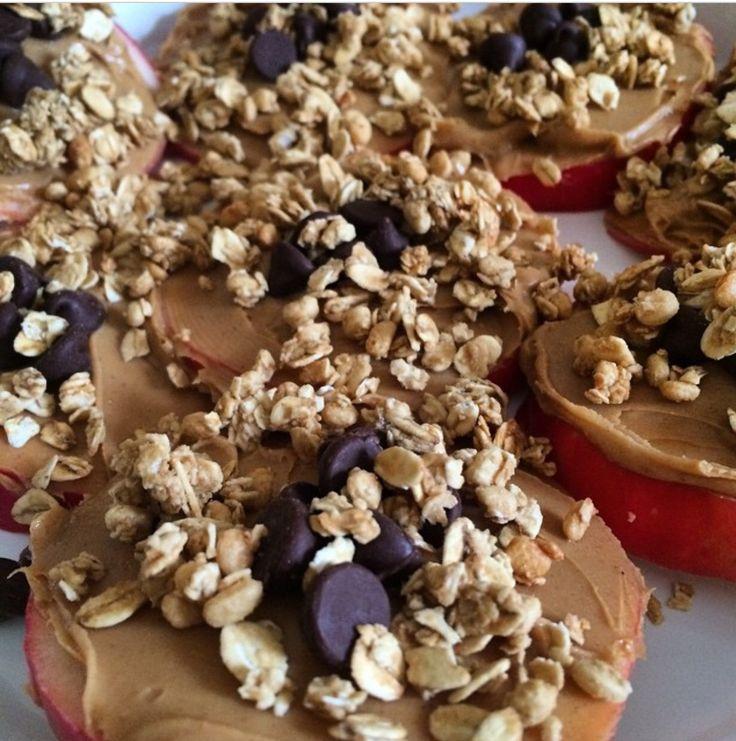 Apple snacks  -1 Apple  -Peanut butter  -Granola (I used honey granola)  -Chocol... - Honey G...
