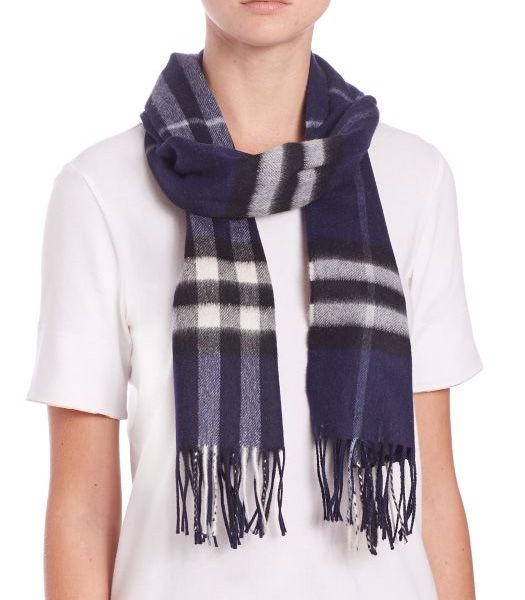 Burberry Navy Giant Check Cashmere Scarf Navy         $75.00