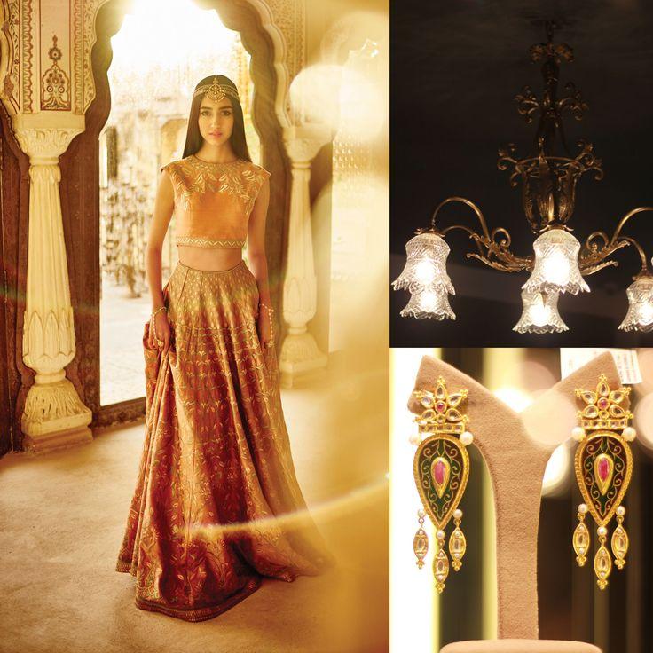 #AnitaDongre #Bridal #TheWeddingDiaries #Vintage #Pinkcity #Jewellery #lehenga #choli #Indian #WeddingInspiration #gotapatti #Rajasthan #Jaipur #Bride #chandelier