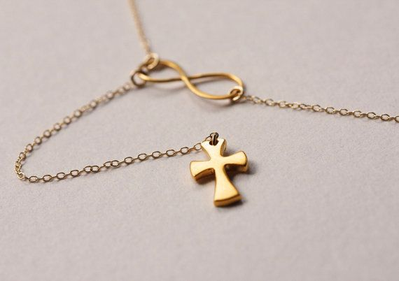 Gold Cross Lariat, Y Cross and Infinity Pendant from MinimalVS by DaWanda.com