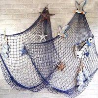 DÉCORATIONS DE PLAGE Wish | 1 Pc Fashion Nautical Fishing Net Seaside Beach Sea Shells Fishing Net Party Wall Hanging Decoration Gift Home Decor