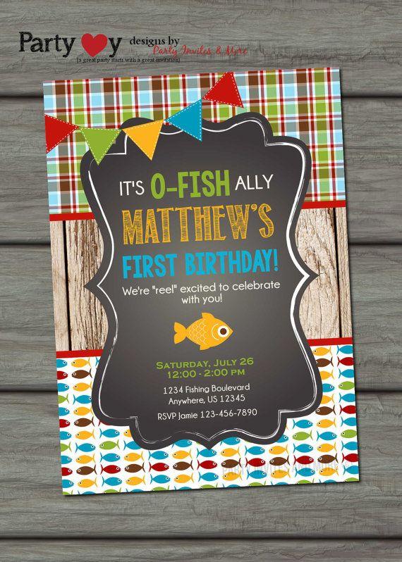 Fishing birthday invitation fishing birthday party fish for Fishing first birthday