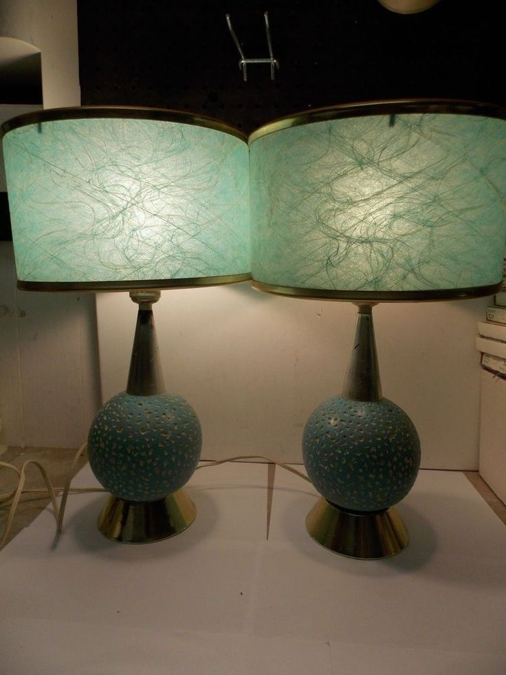 Mid Century Aqua Retro Table Lamps W Green Spun Fiberglass Shades Set Of 2 Table Lamp
