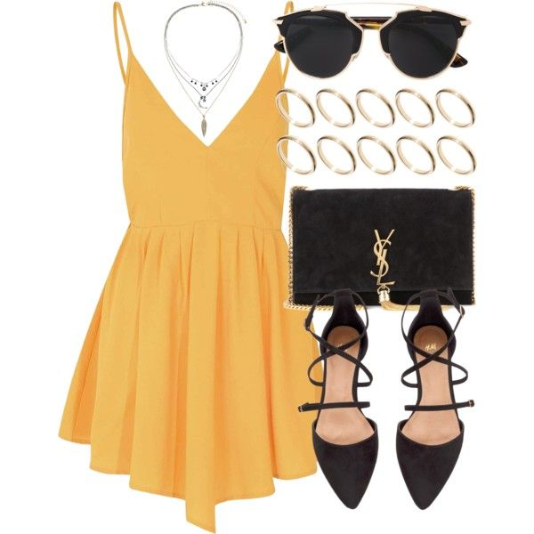 Untitled #5104 by laurenmboot on Polyvore featuring Glamorous, H&M, Yves Saint Laurent, ASOS, Topshop, Christian Dior, women's clothing, women's fashion, women and female