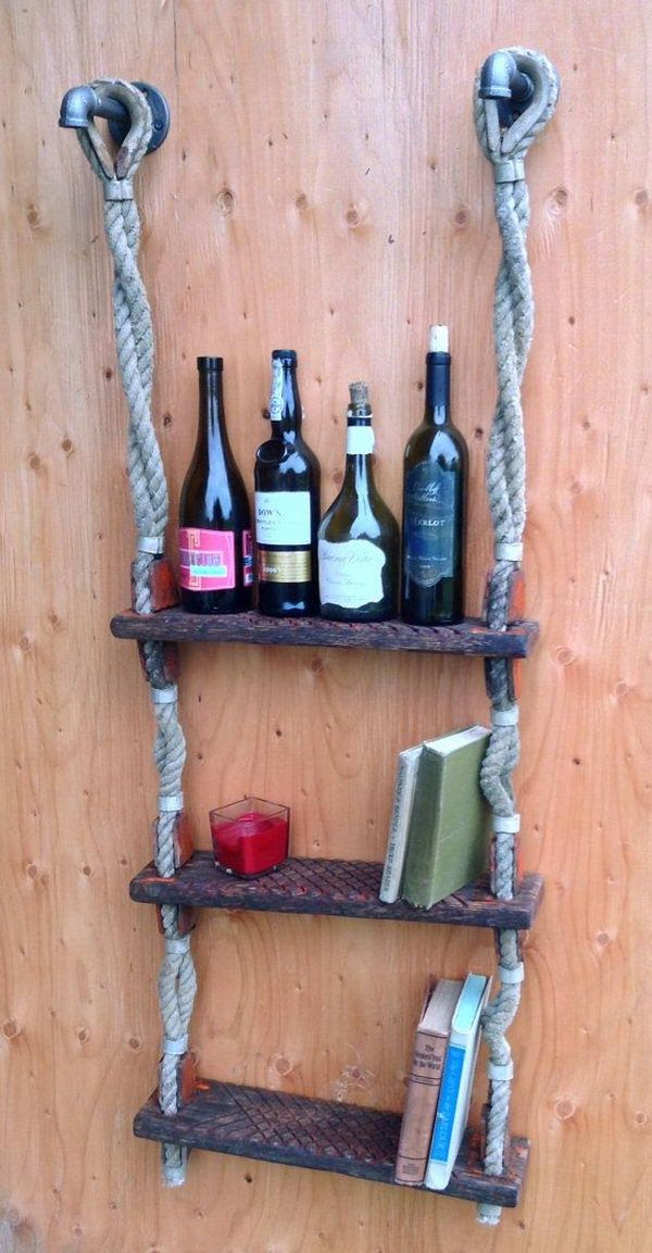 Ship Ladder Wine Rack - Cool Wine Rack Ideas, http://hative.com/10-cool-wine-rack-ideas/,