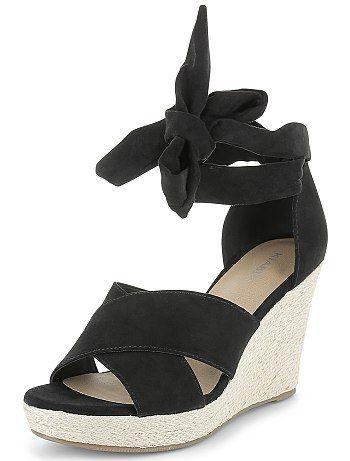 Sandalen met sleehakken van suèdine                                                                 bleu Dameskleding  - Kiabi