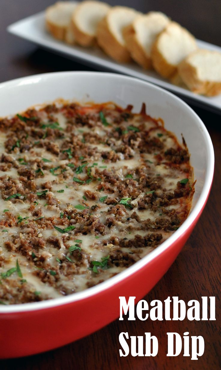 Meatball Sub Dip Recipe- Awesome appetizer for your Super Bowl party! All the flavor of a meatball sub in an easy dip.