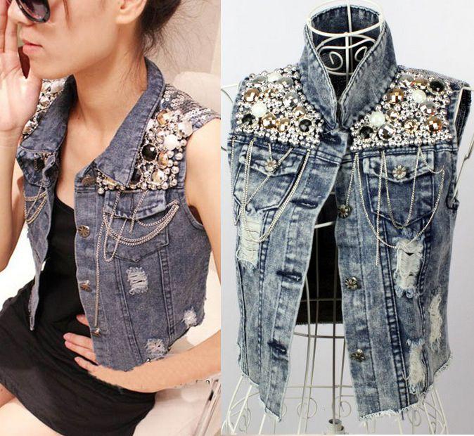 Hot Cowgirl Punk Jacket Retro Beaded Sequined Distressed Denim Jacket Jeans Vest   eBay