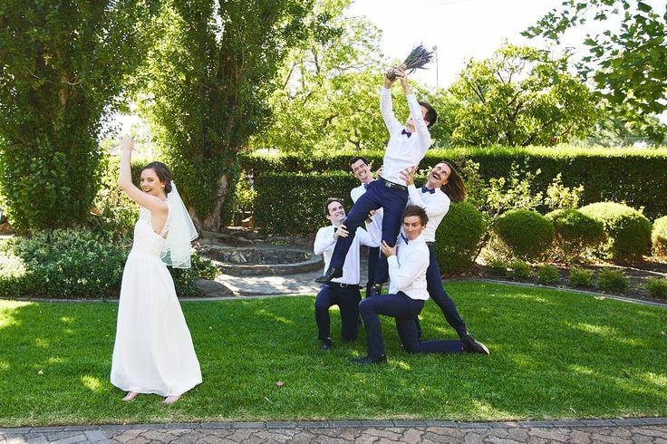 groom catch bouquet