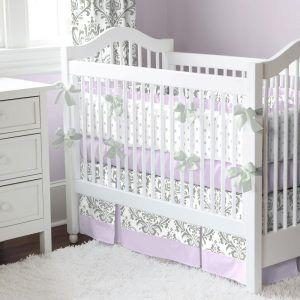 Gray And Purple Crib Bedding