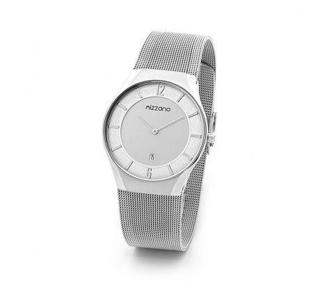Mizzano Mens mesh silver with silver dial watch