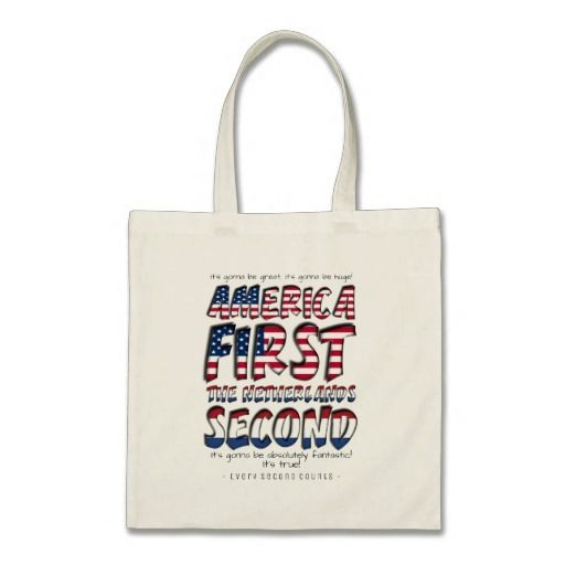 America First The Netherlands Second Typography Tote Bag #netherlandssecond #americafirst #everysecondcounts