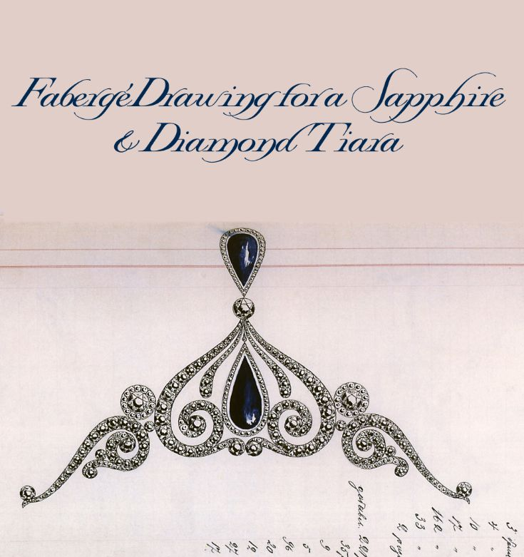 A lavish Fabergé design for a diadem incorporating the client's own pair of large cabochon sapphire drops. It is mounted in platinum and set with large brilliant and rose diamonds, dated 16 November 1912, all in cyrillic