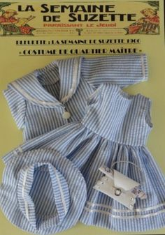 "Robe pour Bleuette. Costume marin ""Quartier Maître"". (Reproduction source in France)"