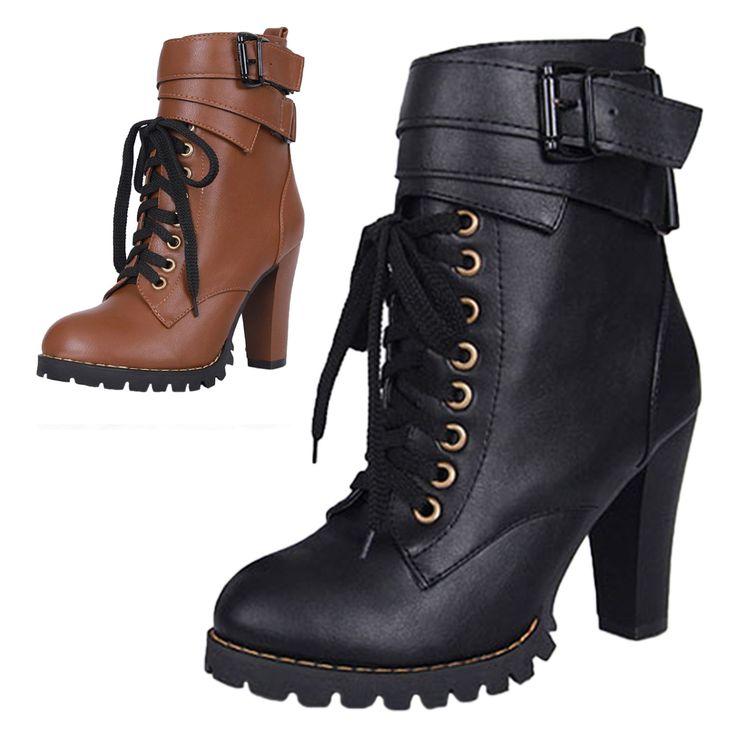 Winter Block Heel Leather Like Classic Military Fashion Celebrity Boots Sz 4