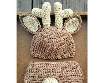 CROCHET PATTERN Newborn deer hat and от HandmadeThisAndThat