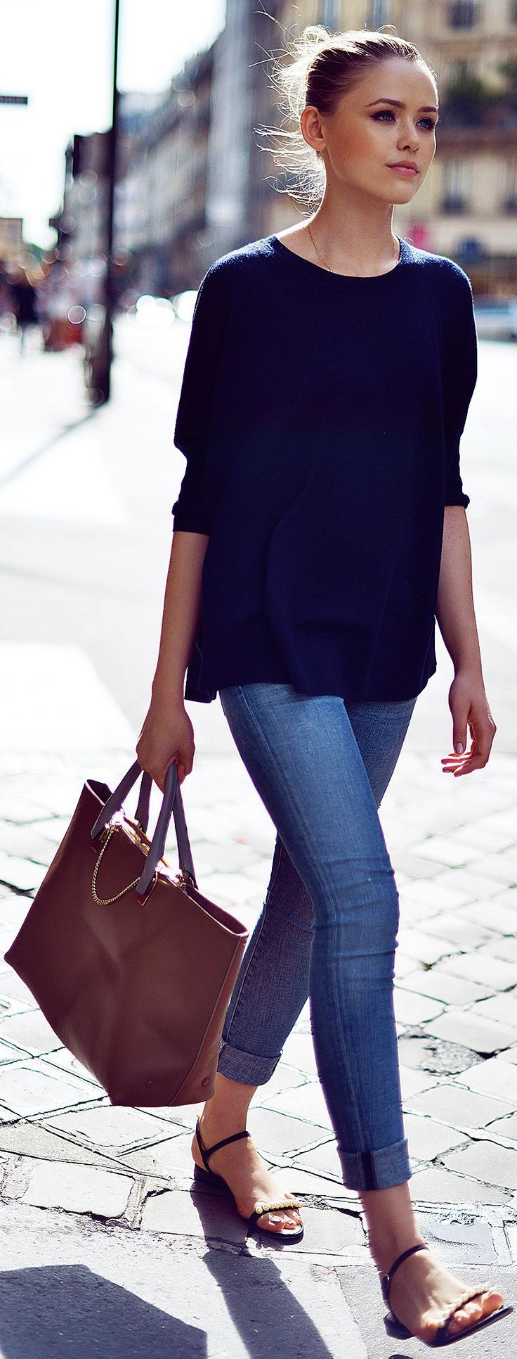 Casual And Chic Outfit Simple Blue Town Outfit Latest
