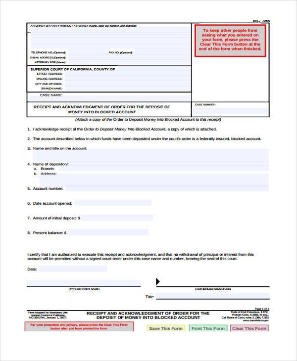 11 Acknowledgement Receipt Templates Free Word Excel Pdf Receipt Template Templates Template Free