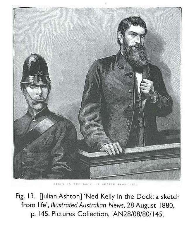 Fig. 13. [Julian Ashton] 'Ned Kelly in the Dock: a sketch from life', Illustrated Australian News, 28 August 1880, p. 145. Pictures Collection, IAN28/08/80/145. [newspaper engraved illustration] Melbourne Victoria Australia