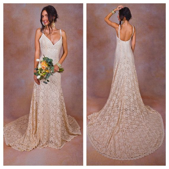 Lace Backless Wedding Dress. Plunge Scallop Front. LOW BACK wedding dress.  simple elegant bohemian wedding dress. IVORY lace  b398ee224