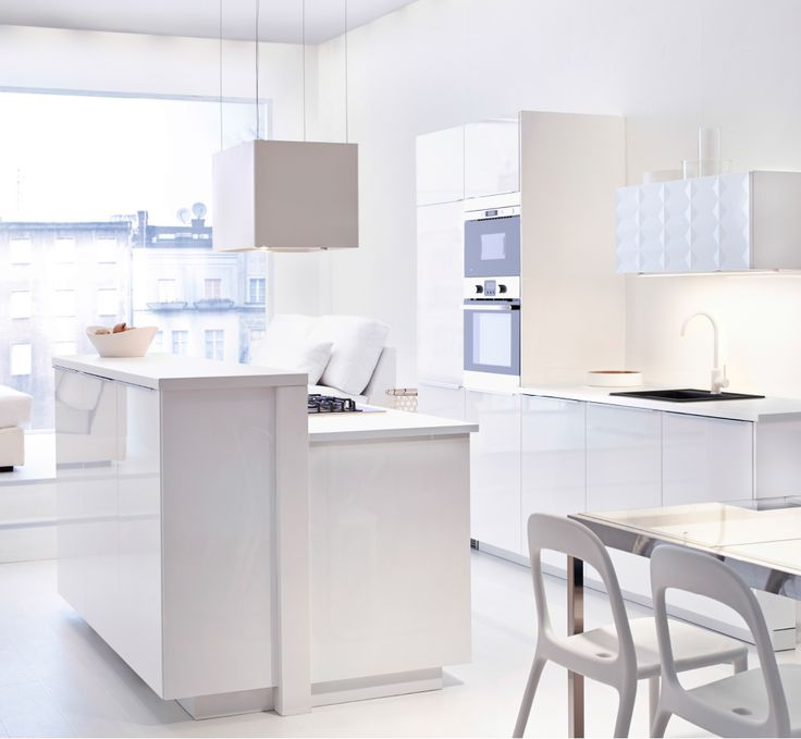 View Of The Whole IKEA Kitchen, In Brilliant White. Cabinets, Dining Area,